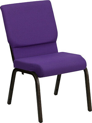 18.5''W Purple Fabric Stacking Church Chair - Gold Vein Frame
