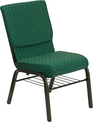 18.5''W Green Patterned Fabric Church Chair, Book Rack - Gold Vein Frame