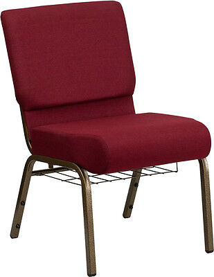 21'' Extra Wide Burgundy Fabric Church Chair Communion Cup Book Rack Gold Vein