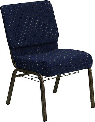 21'' Wide Navy Blue Fabric Church Chair Communion Cup Book Rack Gold Vein Frame