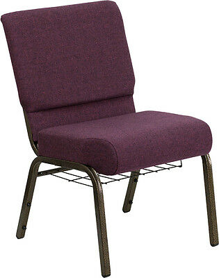 21'' Extra Wide Plum Fabric Church Chair Communion Cup Book Rack Gold Vein Frame