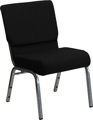21'' Extra Wide Black Fabric Stacking Church Chair - Silver Vein Frame