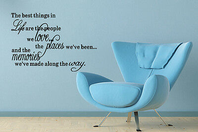 The best things in Life Inspirational Words Wall Decal Quote Art Vinyl