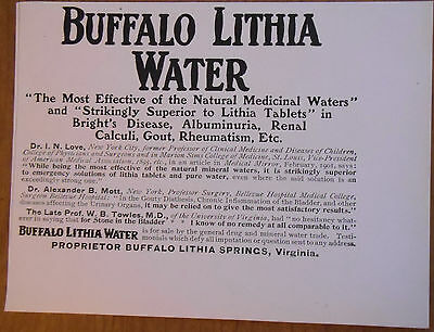 """1906 vintage AD Buffalo Lithia """"The Most Effective of Natural Medicinal Waters"""""""