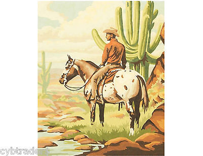Cowboy & Horse Desert  Scene  Paint By Number  Refrigerator / Tool  Box  Magnet
