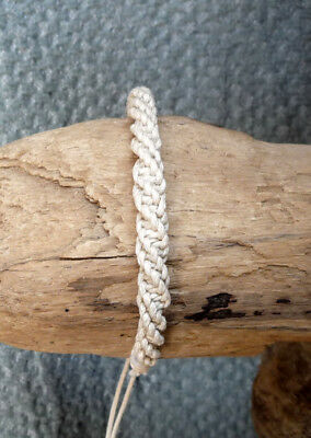 FRIENDSHIP BRACELET white cotton hemp wrist band anklet men women surfer boho