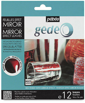 Gedeo Red Coloured Mirror Effect Metal Leaf Foil Sheets 12 Leaves Gilding Pebeo