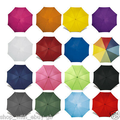 """40"""" CLASSIC Umbrella with WOODEN Crook Handle - AUTOMATIC Stick Brolly Walking"""