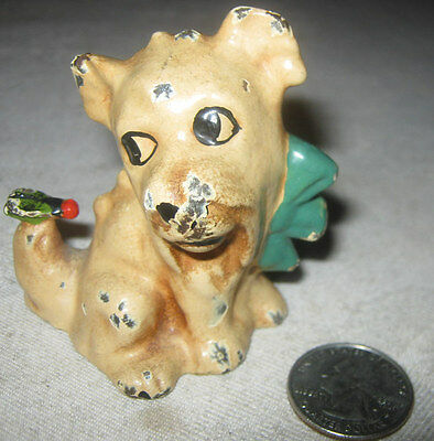 ANTIQUE HUBLEY SOLID CAST IRON DOG w/ FLY ART STATUE PAPERWEIGHT TOY DOORSTOP