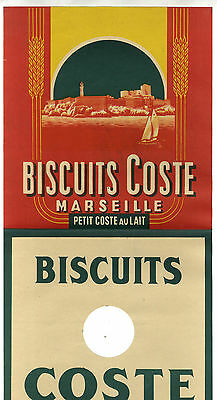 Grande Etiquette Biscuit Coste Chateau D' If   Marseille Provence