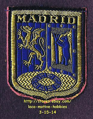 LMH PATCH Woven Felt Badge  MADRID Griffin Winged Lion COAT ARMS Bear Tree SPAIN
