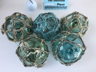 "(5) x 3"" Japanese Glass Fishing Floats ~ With Netting ~ Authentic Old Vintage"