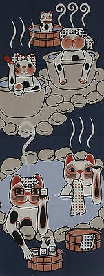 Tenugui Japanese Beckoning Cat Fabric Cotton 'Maneki Neko Hot Spring Vacation'