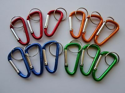 Lot 12 Carabiner Clips ~ Spring Belt Snap Key Chain ~ Aluminum ~ Free Shipping