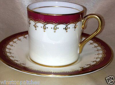 AYNSLEY DUNROBIN #8192 DEMITASSE CUP & SAUCER MAROON RED BAND GOLD FILIGREE TRIM