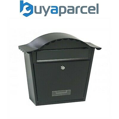 Gardman 17250 Traditional Post Letter Mail Box Black Steel Wall Mounted