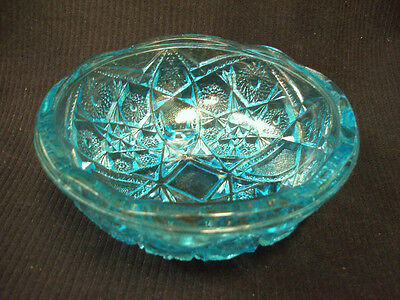 VINTAGE INDIANA ART GLASS FOOTED CONSOLE BOWL HORIZON TURQUOISE BLUE SCALLOPED