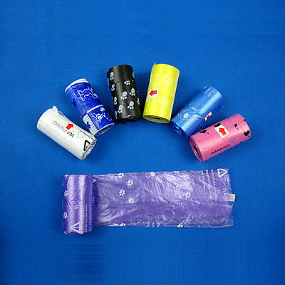 New Purple Cat Pet Dog Waste Clean Pick Up A Roll Of 20 Poop Poo Bags Refills