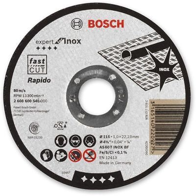 "Bosch 115mm (4.5"") x 22.23 x 1mm Thin Metal Inox Fast Cutting Disc - QTY 2 DISCS"