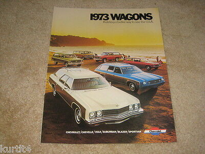 1973 Chevrolet Wagons Caprice Chevelle Suburban Stationwagon sales brochure