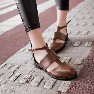 Fashion Women British Style Cut Out Buckle Straps Chunky Block Pointed Toe Shoes