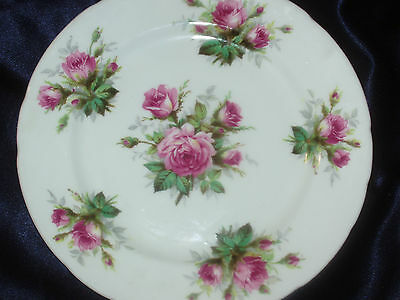 "Hammersley Grandmother's Rose 8"" Salad Plate Pink Roses No Gold Trim Flowers"