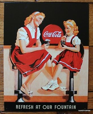 Tin Sign Ad Coke Coca-cola Vintage Soda Fountain Collector Wall hanging decor