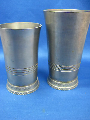 """5 """",4 1/4 """"Lot 2 Antique  German Embossed &Engraved Solid Pewter Cups/Containers"""