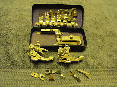Vintage  Rotary Attachments Metal Box & ? Sewing Machine Attachments ? Greist