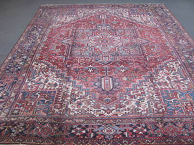 Semi Antique Persian Heriz Hand Knotted Wool Rug 9'-6 x 12'-5