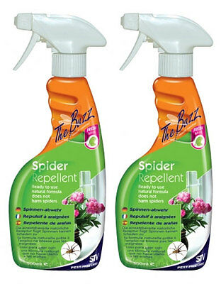 2 x The Buzz Spider Repellent Spray 750ml Non Harmful Spray Fresh Mint Scented