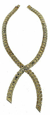 "Vintage Crown Trifari 3/8"" Snake Geometric Mod Mesh Wrap Cross Over Necklace 14"""