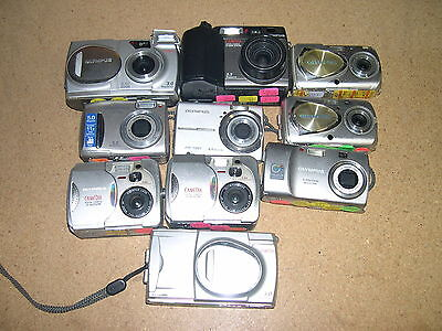 Lot Of 10 AS-IS Digital Parts Cameras Non-Working Olympus #C-4
