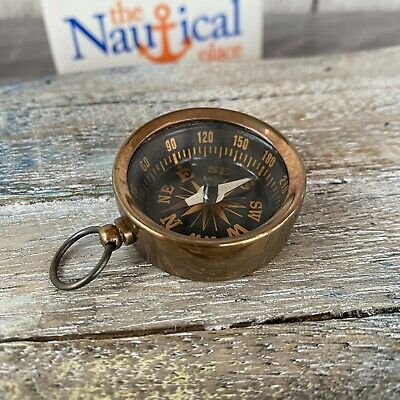 Antique Finish Brass Pocket Compass ~ Pendant / Keychain ~ Hiking Camping