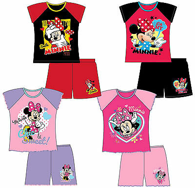 GIRLS KIDS DISNEY MINNIE MOUSE SHORTIE PYJAMAS PJS T-Shirt Shorts Set 12m-10y