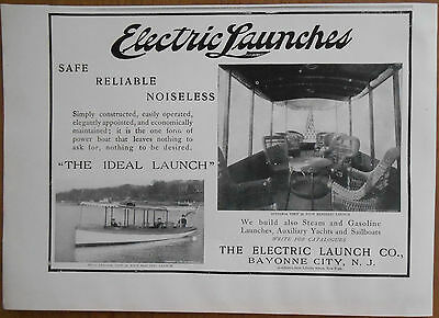 1903 vintage boat AD Electric Launch Co Bayonne City New Jersey