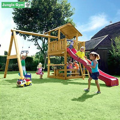 spielturm jungle gym chalet mit rutsche sandkasten. Black Bedroom Furniture Sets. Home Design Ideas