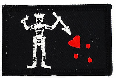 Flag Patch Patches Pirate Blackbeard Edward Teach Iron On Embroidered World