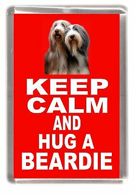 "Bearded Collie Dog Fridge Magnet ""KEEP CALM AND HUG A BEARDIE"" by Starprint"