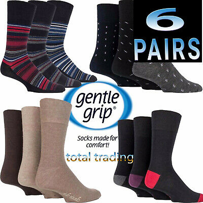 Mens Gentle Grip Socks Non Elastic Soft Top Diabetic COTTON - WOOL- SEAM FREE