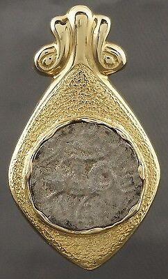 Rare Antique Greek Silver Coin, Solid 14K Gold Etruscan Scrolled Estate Pendant