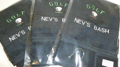 New Personalised Embroidered Golf Towel With Logo and Name
