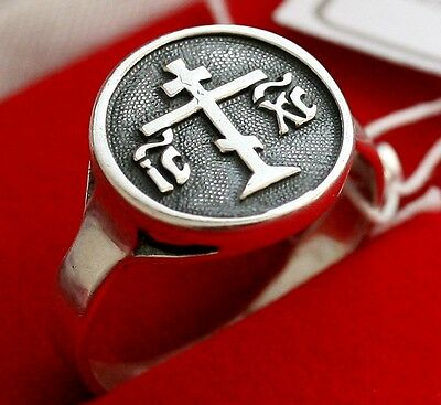 OLD STYLE RUSSIAN ORTHODOX SILVER RING w/ CROSS. NEW CHRISTIAN JEWELRY
