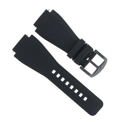 24Mm Rubber Band For  Bell & Ross Br01-96 Commando Watch Black Brush Buckle
