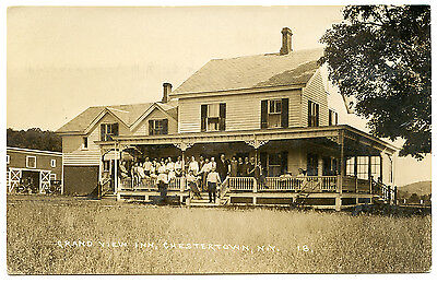 RPPC NY Adirondacks Chestertown Grand View Inn People on Porch Warren County
