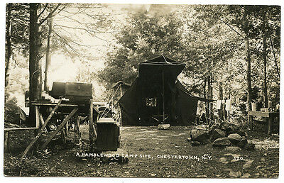 RPPC NY Adirondacks Chestertown A Ramblewood Camp Site Warren County