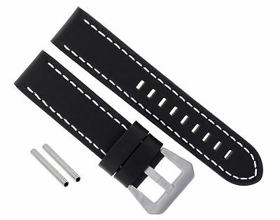 24Mm Cow Leather Strap Watch Band For Pam 44Mm Panerai Marina Luminor Black Ws10