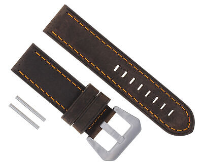 24Mm Cow Pam Leather Strap Watch Band For Panerai Brown Orange Stitch #17