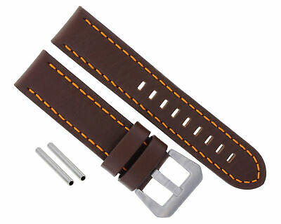 24Mm Leather Watch Band Strap For Pam 44Mm Panerai Marina Gmt D/Brown Orange #10