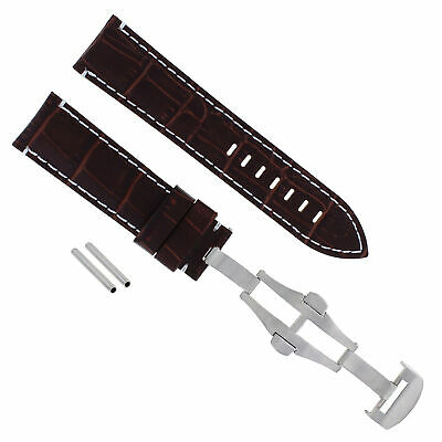 24Mm Pam Leather Watch Strap Band Deployment Clasp For Panerai 104 Brown Ws #18
